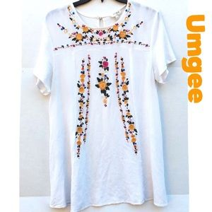 Umgee Floral Embroidered Tunic Or Mini Dress